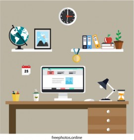 Perfect Office Desk Illustration with Flat Style