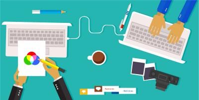 Flat Creative Partner Working Illustration