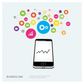 Business Link Illustration with Smartphone