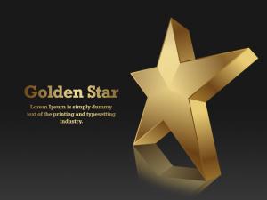 3D Golden Star PSD Design