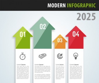 Arrows Pointing Up Infographics Design PSD