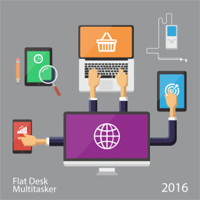 Flat Desk Illustration Multitasker Idea