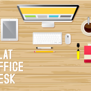 Designer's Office Desk Flat Illustration