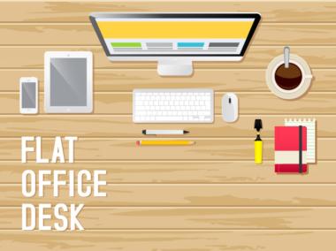 Designer's Office Desk Flat Illustration