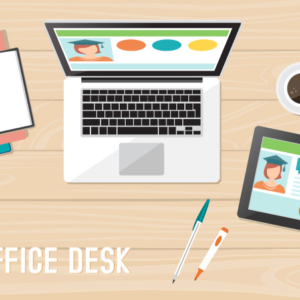Flat Light Office Desk Illustration