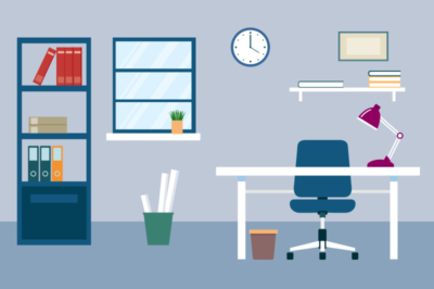 Flat Desk Illustration Design