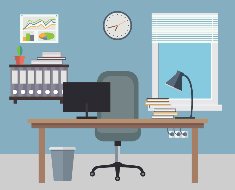 Graphic Designer Desk Illustration
