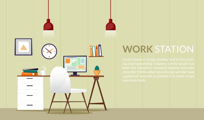 Elegant Flat Desk Office Design Illustration FreePhotosonline